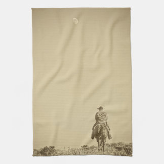 Moon Rise Ride Cowboy Kitchen Towel