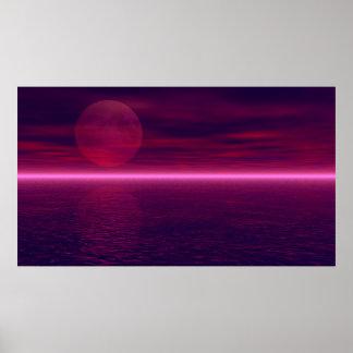 Moon Rising Aquarium Background 2 Poster