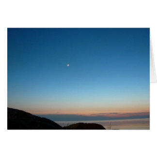Moon Rising over Lake Michigan (Blank) Card