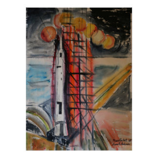 Moon Rocket 1969 Historical Memorabilia Poster