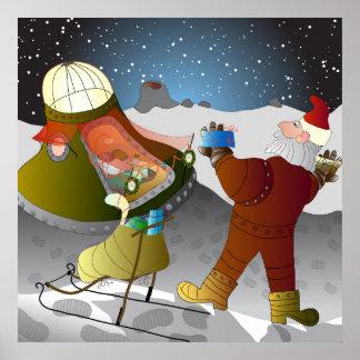 Moon Santa Christmas Poster
