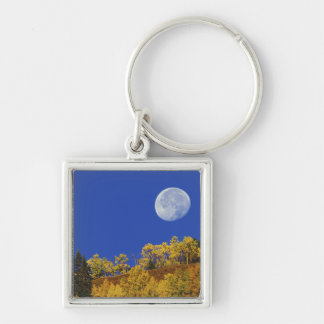 Moon setting at sunrise, Gunnison National Silver-Colored Square Keychain
