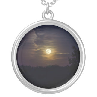 Moon Silhouette Silver Plated Necklace