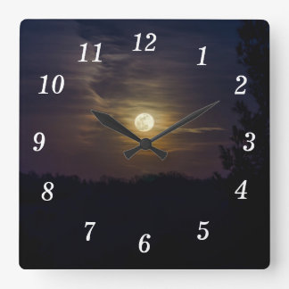 Moon Silhouette Square Wall Clock