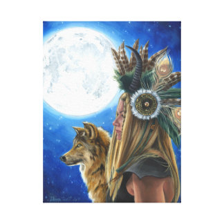 Moon Song Viking Art Canvas Wolf Native American