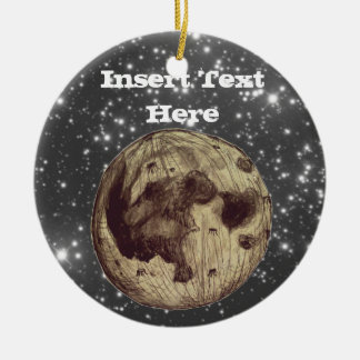 Moon Space Astronomy Round Ceramic Ornament