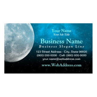Moon / Space Photo Business Card - Aqua
