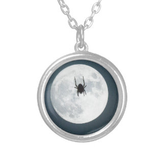 Moon spider silver plated necklace