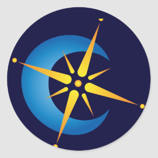 Moon & Star Classic Round Sticker