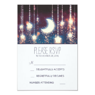 """moon stars and string of lights wedding RSVP cards 3.5"""" X 5"""" Invitation Card"""