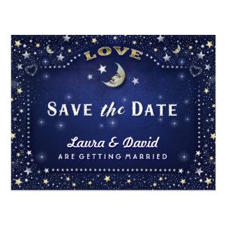 Moon & Stars Blue Gold & White Save Date Postcard
