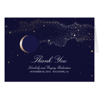 Moon Stars Enchanted Night Navy Wedding Thank You Card
