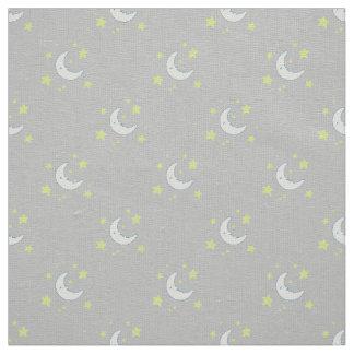 Moon & Stars Original Textile Print - Grey Fabric