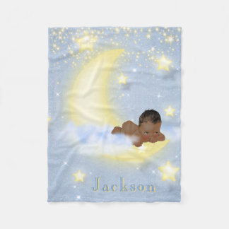 Moon Stars Personalized African American Baby Fleece Blanket