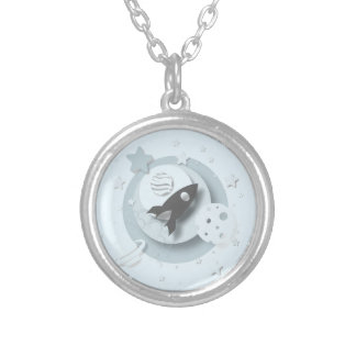 Moon & Stars Round Pendant Necklace
