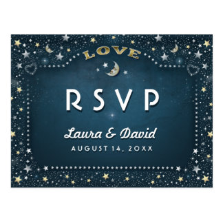 Moon & Stars Teal Gold & White Matching RSVP Postcard