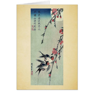 Moon,swallows and peach blossoms by Ando,Hiroshige Card
