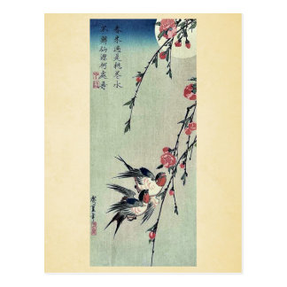 Moon,swallows and peach blossoms by Ando,Hiroshige Postcard