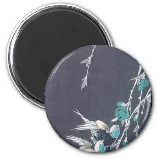 Moon, Swallows, and Peach Blossoms circa 1850 2 Inch Round Magnet