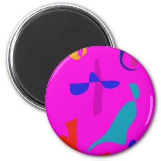Moon through the Window Pink 2 Inch Round Magnet