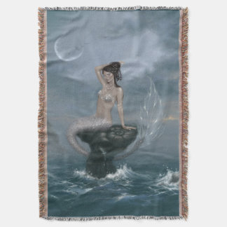 Moon Tide Mermaid Throw Blanket