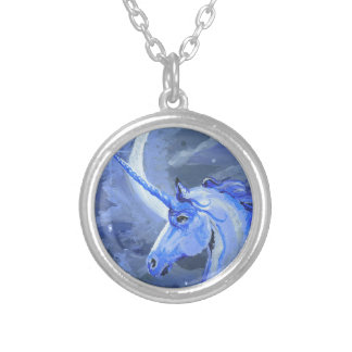 Moon Unicorn Blue Necklace