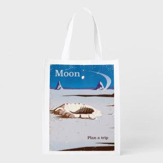 Moon - vintage Sci-fi travel poster Reusable Grocery Bag