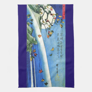Moon Waterfall Autumn Falling Leaves Kitchen Towel