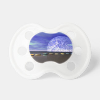 moon white and stone and steps pacifier