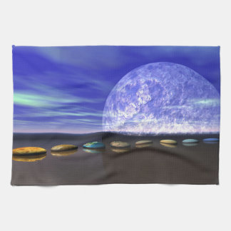 moon white and stone and steps towel