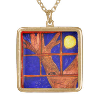 """Moon Window Watching"" art by Beth Wellesley Gold Plated Necklace"