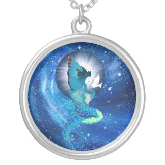 Moon Wishes Mermaid Silver Plated Necklace
