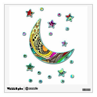Moon With Stars Colorful Wall Decal