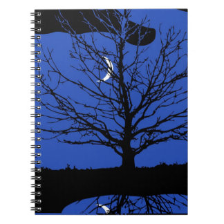 Moon with Tree, Cobalt Blue, Black and White Spiral Notebook
