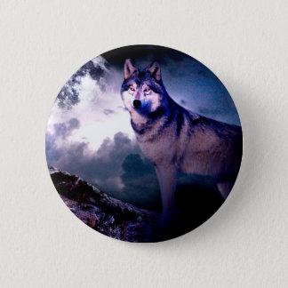Moon wolf - gray wolf - wild wolf - snow wolf 2 inch round button