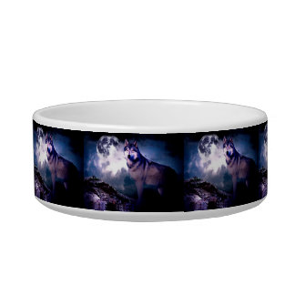 Moon wolf - gray wolf - wild wolf - snow wolf bowl