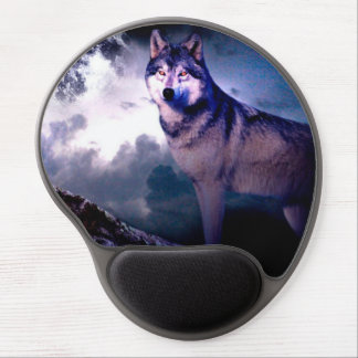 Moon wolf - gray wolf - wild wolf - snow wolf gel mouse pad