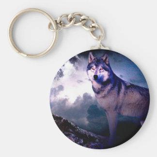 Moon wolf - gray wolf - wild wolf - snow wolf keychain
