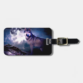 Moon wolf - gray wolf - wild wolf - snow wolf luggage tag