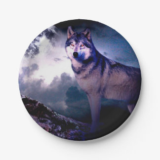 Moon wolf - gray wolf - wild wolf - snow wolf paper plate