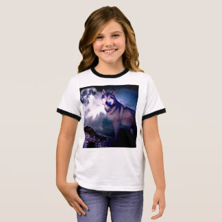 Moon wolf - gray wolf - wild wolf - snow wolf ringer T-Shirt