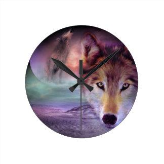 Moon Wolf Round Clock