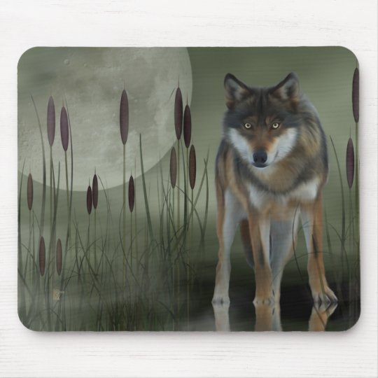 Moon Wolf - Wolf, Animals Mouse Pad
