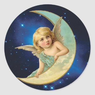 Moonbeam - Angel and Moon Collage Classic Round Sticker