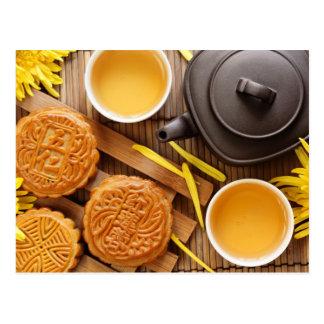 Mooncake and tea,Chinese mid autumn festival 2 Postcard