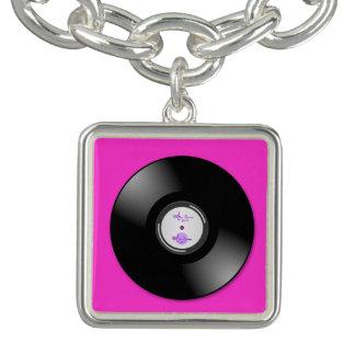 MoonDreams Music Hot Pink Record Sq. CharmBracelet Bracelet