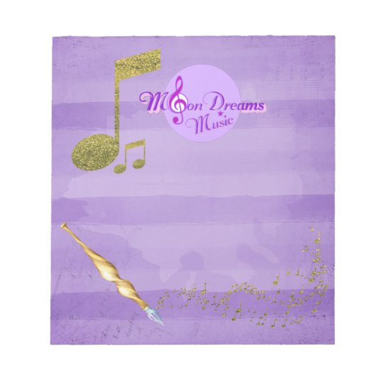 MoonDreams Purple & Gold Music Notes Fancy Writing