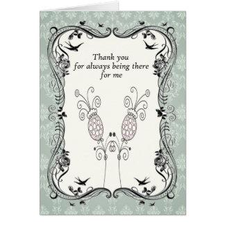 .::MoonDreams::. Vintage Aqua Flower Thank You Card