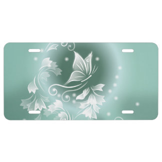 Moonflower Mint Green Fantasy License Plate