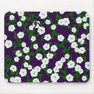 Moonflowers on Deep Plum Mouse Pad